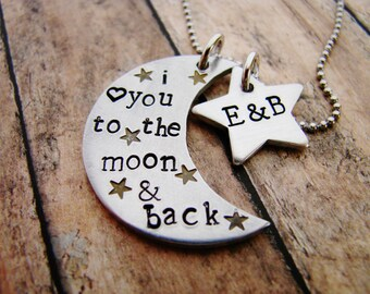 I love you to the moon and back- hand stamped necklace- personalized necklace- custom jewelry- moon and stars- guess how much i love you