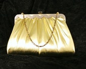 Clutch Harry Levine HL Gold Purse USA 1950s 1960s Handbag Bag Gold Metallic Silk Peach Satin Liner Hideable Chain Designer Formal Evening