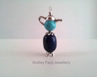 Blue Teapot Pendant Necklace - Lapis Lazuli
