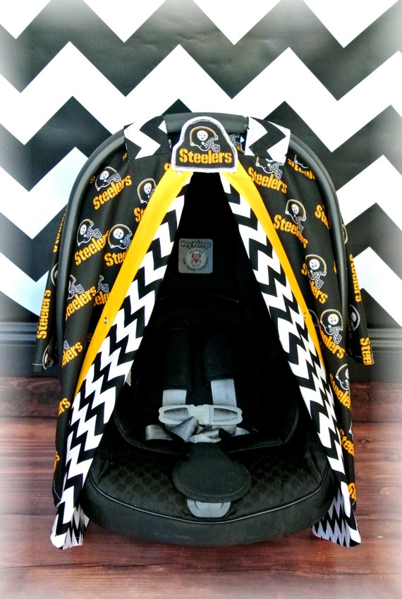 items similar to pittsburgh steelers car seat canopy car seat cover nfl chevron football. Black Bedroom Furniture Sets. Home Design Ideas
