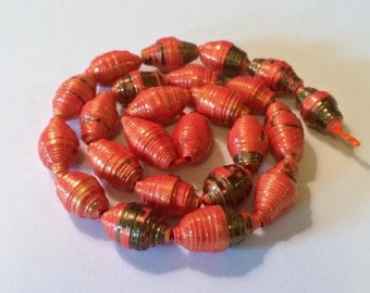 Orange Black Loose Paper Beads First Anniversary Fall Halloween Handmade Beads Lightweight Beads Up cycled Recycled Repurposed Boho Chic