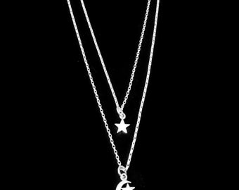 Sterling Silver Moon and Stars Necklace, Moon and Stars Necklace, Crescent Moon and Star Necklace