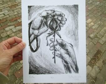 Botanical Lithograph - Original Art - Flower Lithography - Nature Litho Print - Home Decor Art - Black and White Print