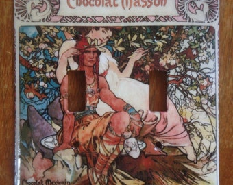 Mucha's Chocolat Masson (Mexicain) 1897: light switch cover plate (dual toggle)