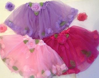 Tutu Flower Pedal Tutu- Newborn-Toddler Ballet Tutu,Hot Pink, Lavender, Turquoise Tutu,  One Size. 12m-5T. Holiday Gift for toddler girl