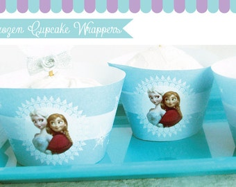 Frozen Cupcake Wrappers for Frozen Birthday Party. Instant Download Frozen Cupcake Liners Printables. DIY Party Printable. Non-Personalized.
