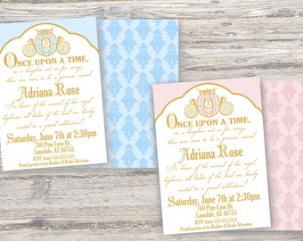 Once Upon a Time Double Sided Invitation (Blue or Pink)