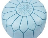Set of 2 Moroccan Designer Pale  Blue luxury Leather Poufs Hand Stitched and Embroidered