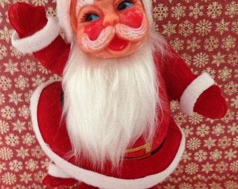 Large Vintage Flocked Santa, vintage Christmas decoration, santa claus, vintage santa