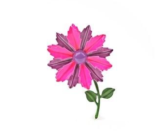 Pink Enamel Flower Brooch / b11