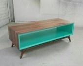 Console // Mid-Century Modern // Handmade // Solid walnut // Aqua interior // Custom