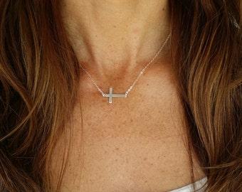 Sideways Sterling Cross Necklace, Cross Pendant, Sterling Silver Cross