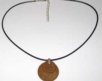 "Black Waxed Cord British 1928 Penny  & Farthing Necklace17"" 43cm With Extension Chain"