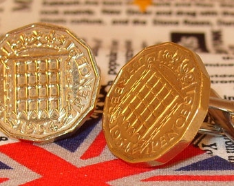 Boxed Pair Vintage British 1954 Threepence 3d Coin Cufflinks Wedding 63rd Birthday