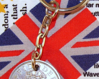 1958 Old English Shilling Coin Keyring Key Chain Fob Queen Elizabeth