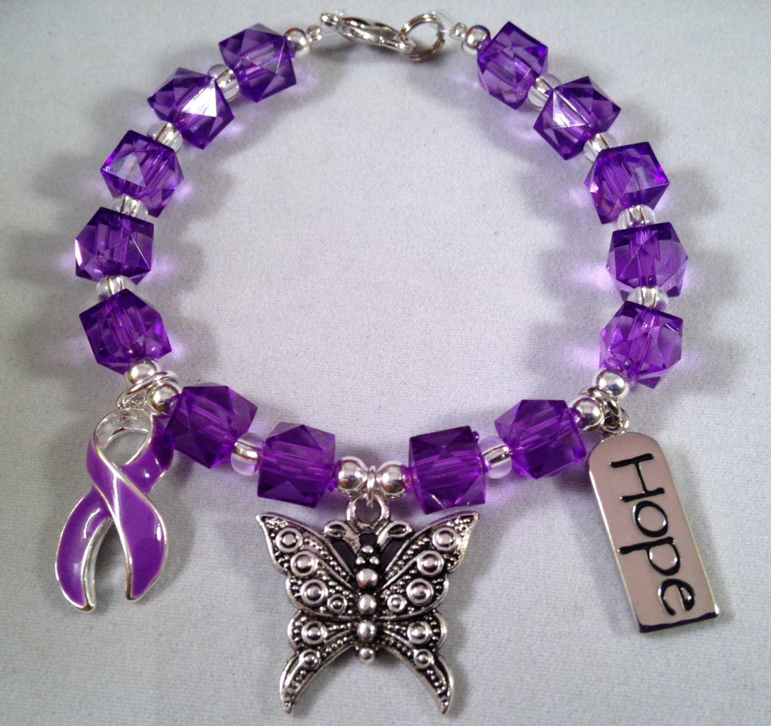 beautiful purple ribbon awareness bracelet butterflypurple