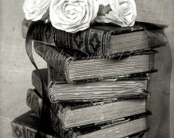 """Black and White French Country Art, Book Art, Old Book Photograph, Office Library Still Life, Vintage Shabby Book Decor- """"Shakespeare Stack"""""""