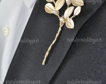 Gold Boutonniere 3 pcs Leaf Boutonniere with Gold Plated Leafs and freashwater pearls - Groom Bestman accessories