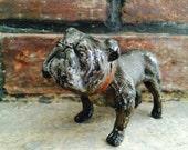 Vintage bulldog figurine // cast iron dog statue