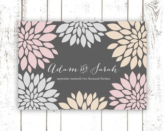 Guest Book Poster - Modern Wedding Guest Book Alternative for 150 Guests in Grey, Pink and Peach