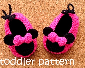 Crochet Pattern Miss Bow Mouse Crochet Toddler Pattern,  Minnie Crochet Shoe Toddler Slippers Pattern ,  Instant Download