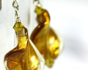 Golden Twisted Glass Shimmer Earrings on Sterling Silver .925 with Swarovski Crystals, Handmade Earrings