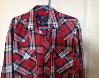 Vintage Western Shirt - Williams Bay Brand - Red plaid with snaps, XL Tall