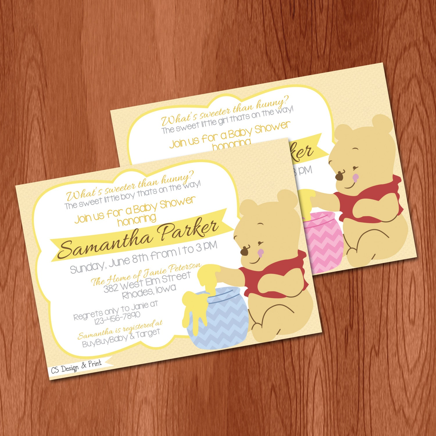 winnie the pooh baby shower invitation by csdesignandprint