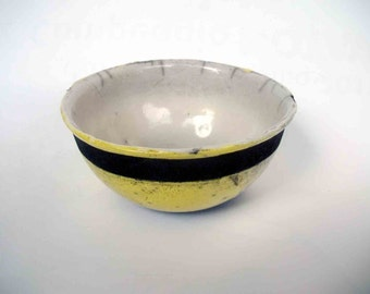 Raku ceramic bowl yellow - OOAK - europeanstreetteam