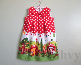 Red Polka Dots Dress. Girl's Gnome Dress. A-Line Dress for Kids. Made to Order Girl Dress in All Sizes: 2_8