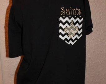 New Orleans Saints Pocket Off-the-Shoulder Shirt Chevron Football