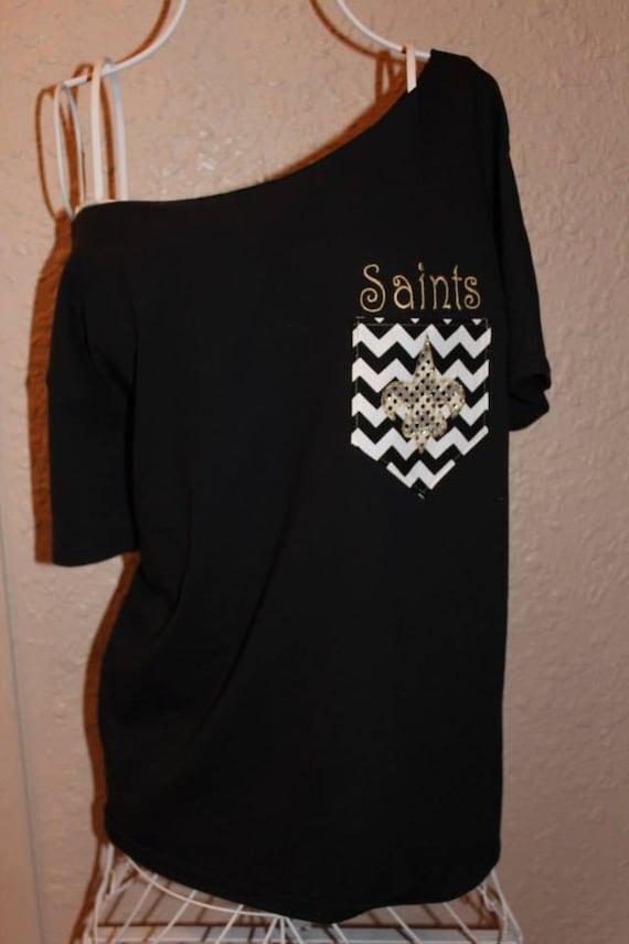 New Orleans Saints Pocket Off The Shoulder Shirt Chevron