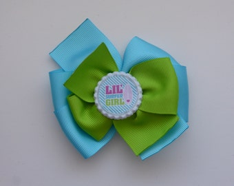 Lime Green and Cyan Blue - Lil' Surfer Girl Hair Bow