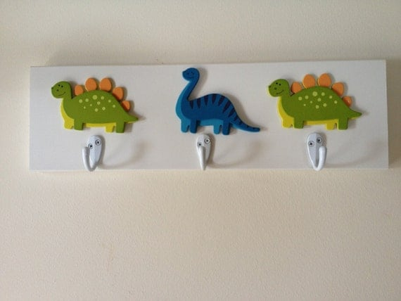 Boys dinosaur theme 3 wall hooks t rex dinosaurs boy nursery for T rex bedroom decor