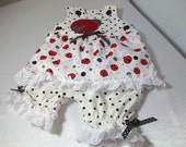 Newborn Baby Girl Gift - Ladybug Outfit - Sun Top and Pantaloons Set