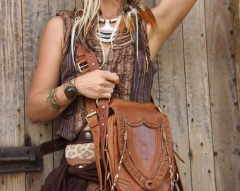 TAN Leather holster, leather utility belt, festival belt, shamanic, steam punk belt, tribal jungle, navaho, messenger bag