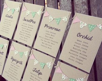 Table Plan Cards, Individual Table Plan Arrangement Cards for Rustic country wedding. Alternative wedding table plan