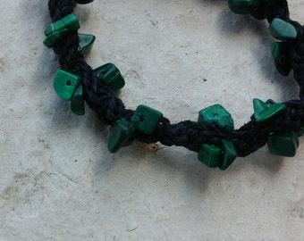 Malachite hemp bracelet