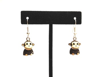 Cute Handmade Monkey Earrings with Jewelry Gift Box