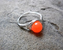 Neon Orange Ring, Wire Wrapped Ring, Neon Ring, Bright Orange Ring, Orange Bead Ring, Wire Wrapped Jewelry Handmade, Chunky Ring