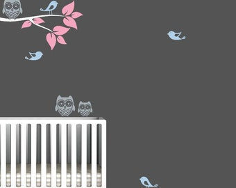 Tree Branch Decal with Birds and Owls
