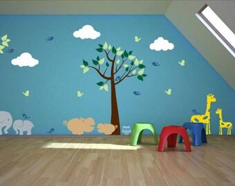 Nursery Wall Decal with Tree, Branch, Elephants, Hippos, Giraffes, Butterflies, Birds, and Owls