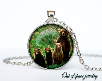 Mother bear with cubs pendant Mother's day necklace Mother bear with cubs necklace