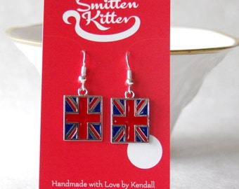 Union Jack Earrings / United Kingdom Flag Earrings / British Flag Earrings /  D105