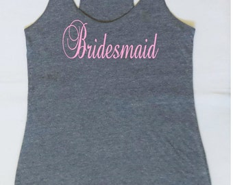 Eco Bridesmaid Tank Top. Bachelorette Party Tanks. Bride Shirt. Wedding Party Tanks. Bridal Party Tanks.  Maid of Honor Tank. S, M, L ,XL