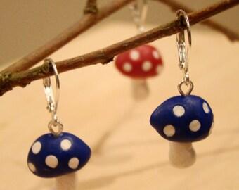 Blue Wonderland Mushroom Earrings