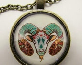 ARIES ZODIAC Necklace --  Gaudi art style Aries necklace for him or her, Fire element