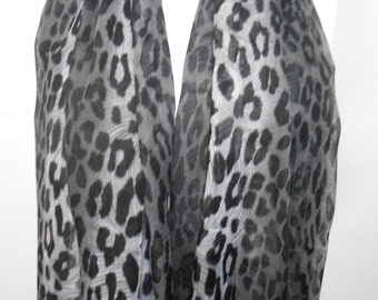 Gray Leopard Scarf Shawl Cotton Scarf Animal Print Cowl Scarf Cheetah Lightweight Scarf Summer Scarf Women Fashion Accessories For Her