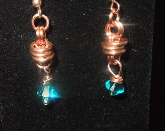 Copper Coil Drop Earrings with Teal Crystal