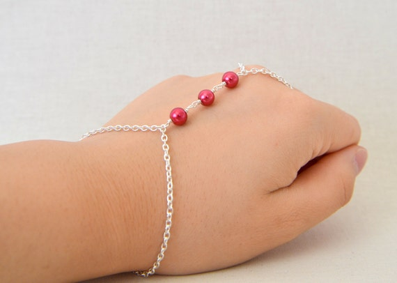 Silver Chain Slave Bracelet, Ring Bracelet with Red Pearl Beads